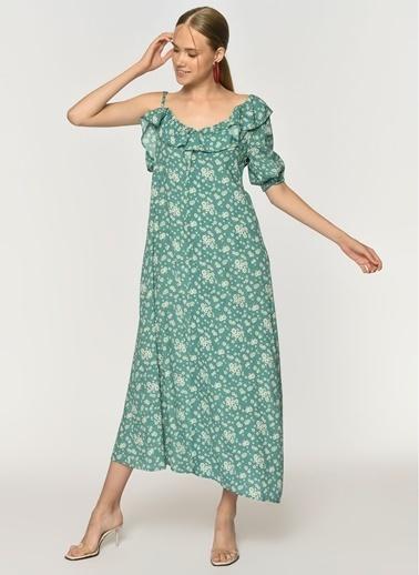 Loves You Tek Kol Dekolteli Krinkıl Cotton Maxi Çiçekli Elbise Yeşil